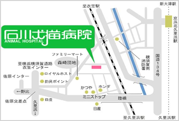石川犬猫病院の地図